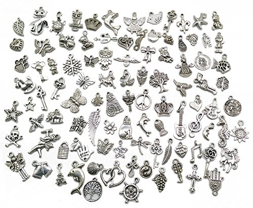 Pack of 100 Mixed DIY Antique Pendants Charms for Crafting,Bracelet Necklace Jewelry Findings Jewelry Making (Charms)