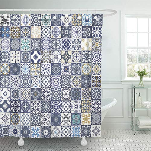 (Emvency Shower Curtain Gorgeous Floral Patchwork Colorful Moroccan Mediterranean Tiles Tribal Ornaments for Fills Indigo Blue Shower Curtains Sets With Hooks 60 x 72 Inches Waterproof Polyester Fabric)