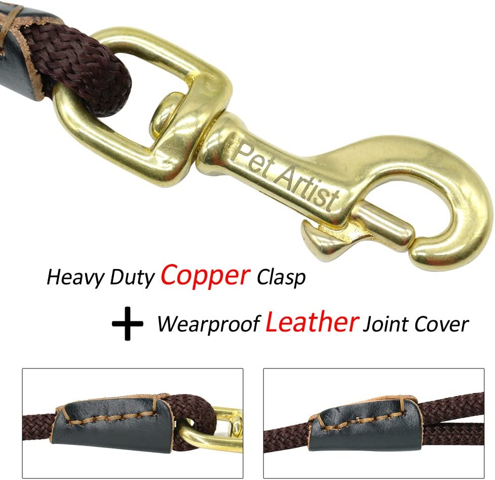Extra Long Lead with Comfortable Touching Dark Brown Rope with Anti-Rust Heavy Duty Copper Clasp//Hook PET ARTIST Braided Nylon Rope 10ft-66ft Tracking//Training Long Dog Leash 33ft