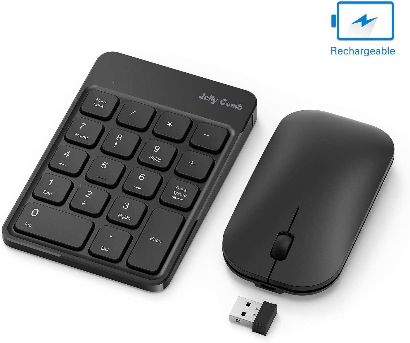 Jelly Comb Teclado numérico con Mouse Teclado inalámbrico numérico recargable con ratón inalámbrico-Negro