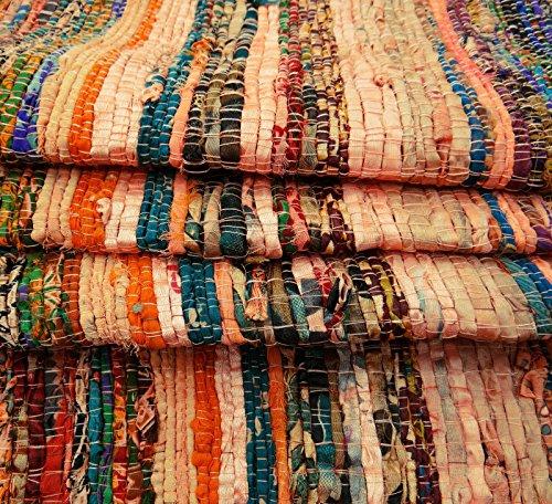 (Aakriti Gallery Fair Trade Handmade Rag Rug Chindi Rug Multi Colored Indian Mat Recycled Rug Boho Decorative Rug(5ftx3ft) (Beige))