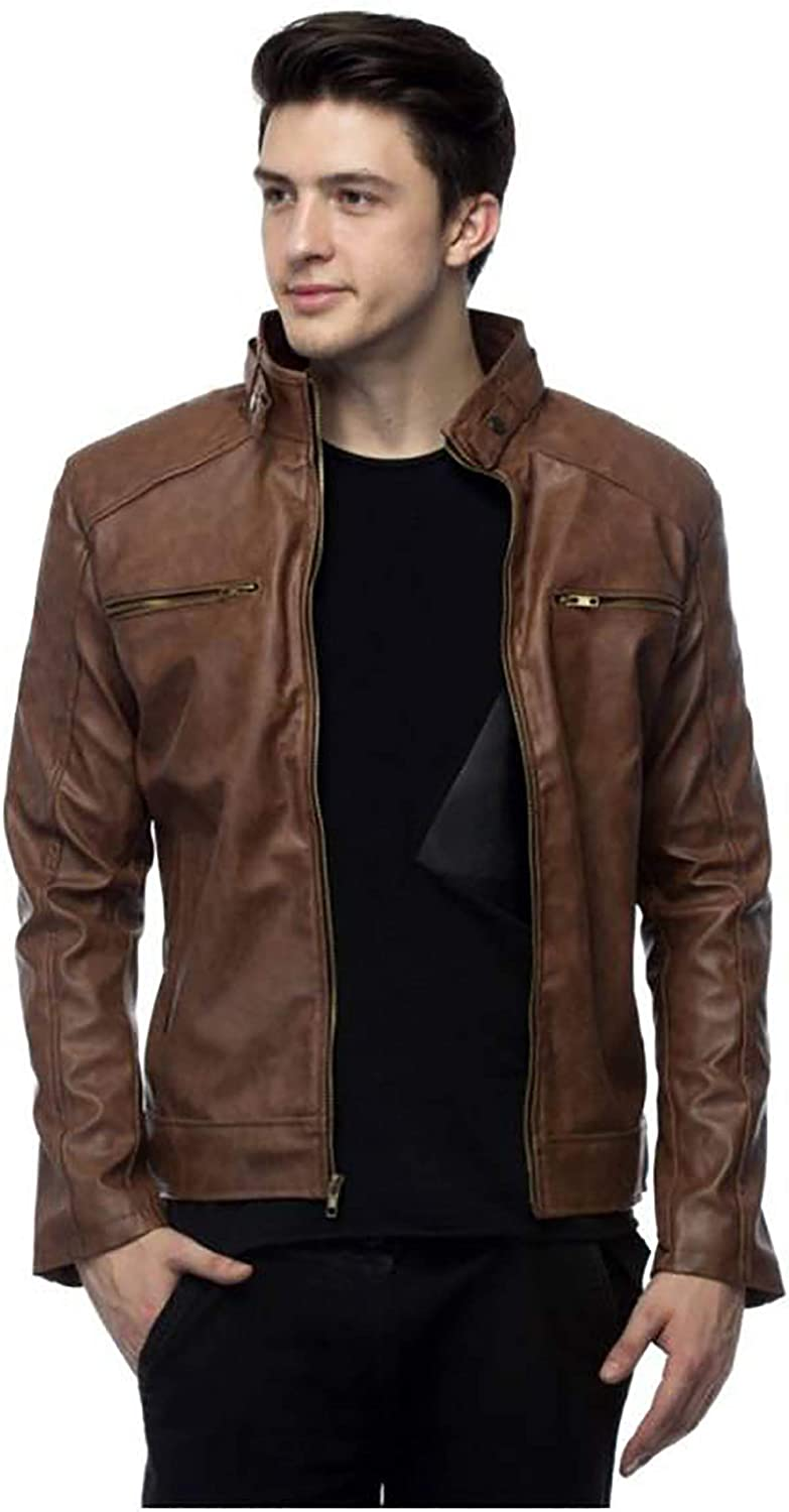Leather Jacket for Men PU Faux M Regular