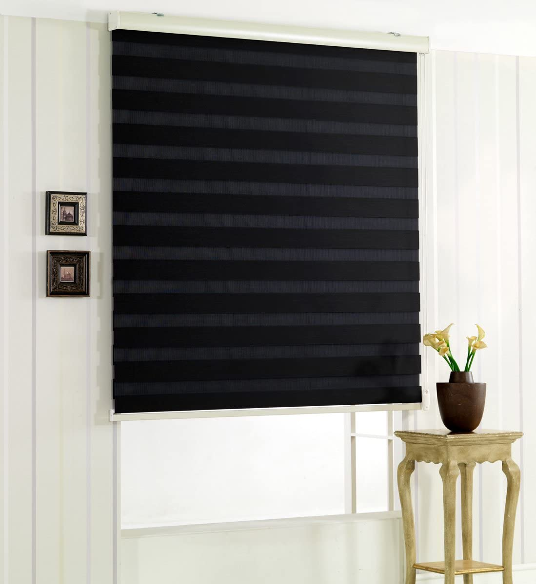 Foiresoft Custom Cut to Size, Winsharp Woodlook, Black, W 91 x H 47 Inch Horizontal Window Shade Blind Zebra Dual Roller Blinds Treatments, Maximum 91 Inch Wide by 103 Inch Long