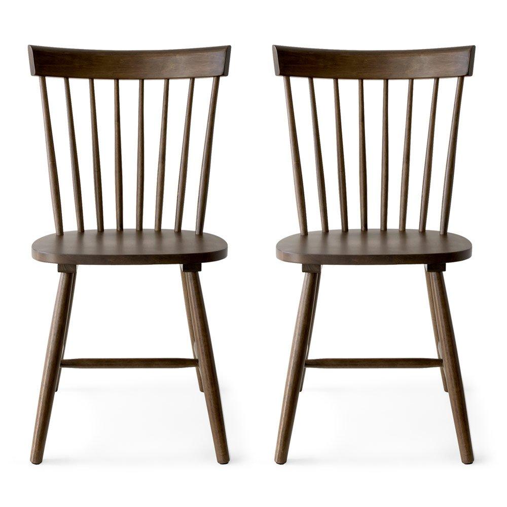 エアリゾーム ダイニングチェア 2脚セット おしゃれ 北欧 木製 イス 食卓椅子 Windsor Chair〔ウィンザーチェア〕 コムバック型 2脚セット販売 ブラウン B06XXRHK9Lブラウン