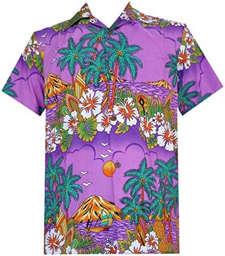 Alvish Hawaiian Shirts 44 Mens Floral Scenic Print Beach Aloha Party Camp Purple M