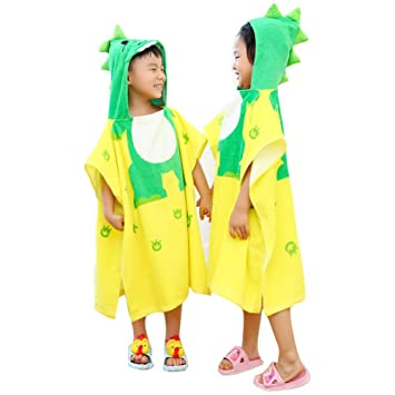 5291a884be Amazon.com   DoMii Toddlers Kids Dinosaur Hooded Towel Beach Poncho Bath  Robe Terry Pool Towel Dino with face 4-10T   Baby