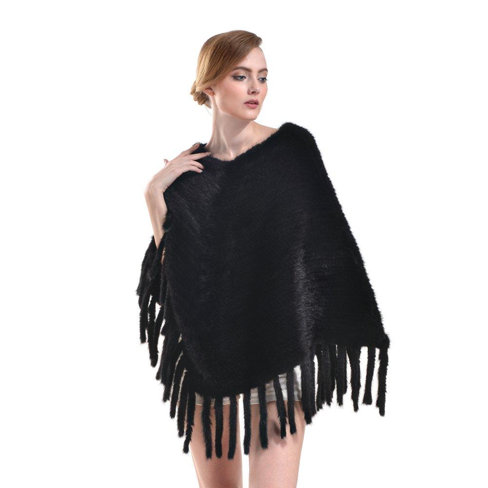 Genuine Mink Fur Shawl - Womens knitted Real Fur Poncho Wrap Winter Warm Pashmina Hoodie Cape Scarf Tassels (black)