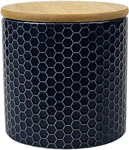 Home Basics Ceramic Canister (Small, Navy Blue)