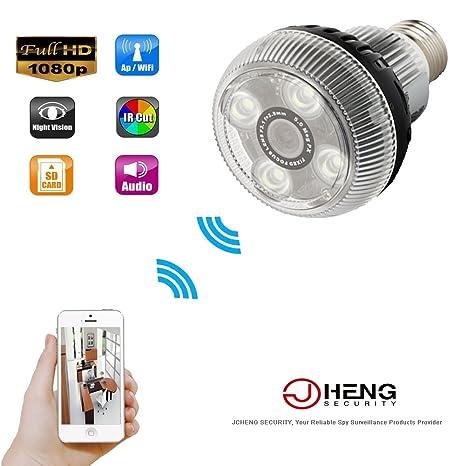 JCHENG SECURITY JC P2P 1080P HD Espejo Bombilla Cámara Oculta WiFi IP Cámara Mini Videocámara Activado