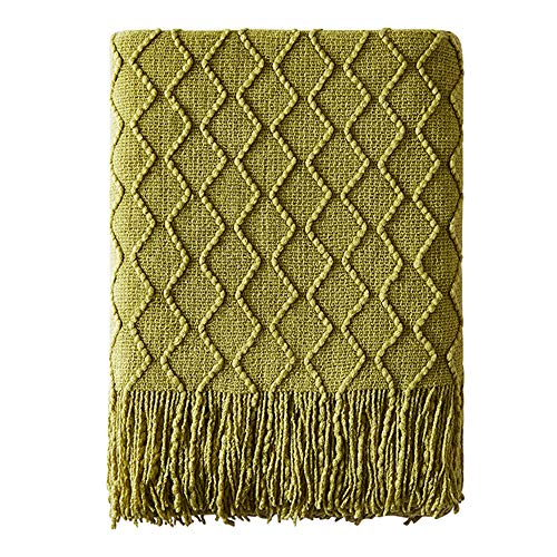 Bourina Textured Solid Soft Sofa Throw Couch Cover Knitted Decorative Blanket, 50 x 60, Olive Green