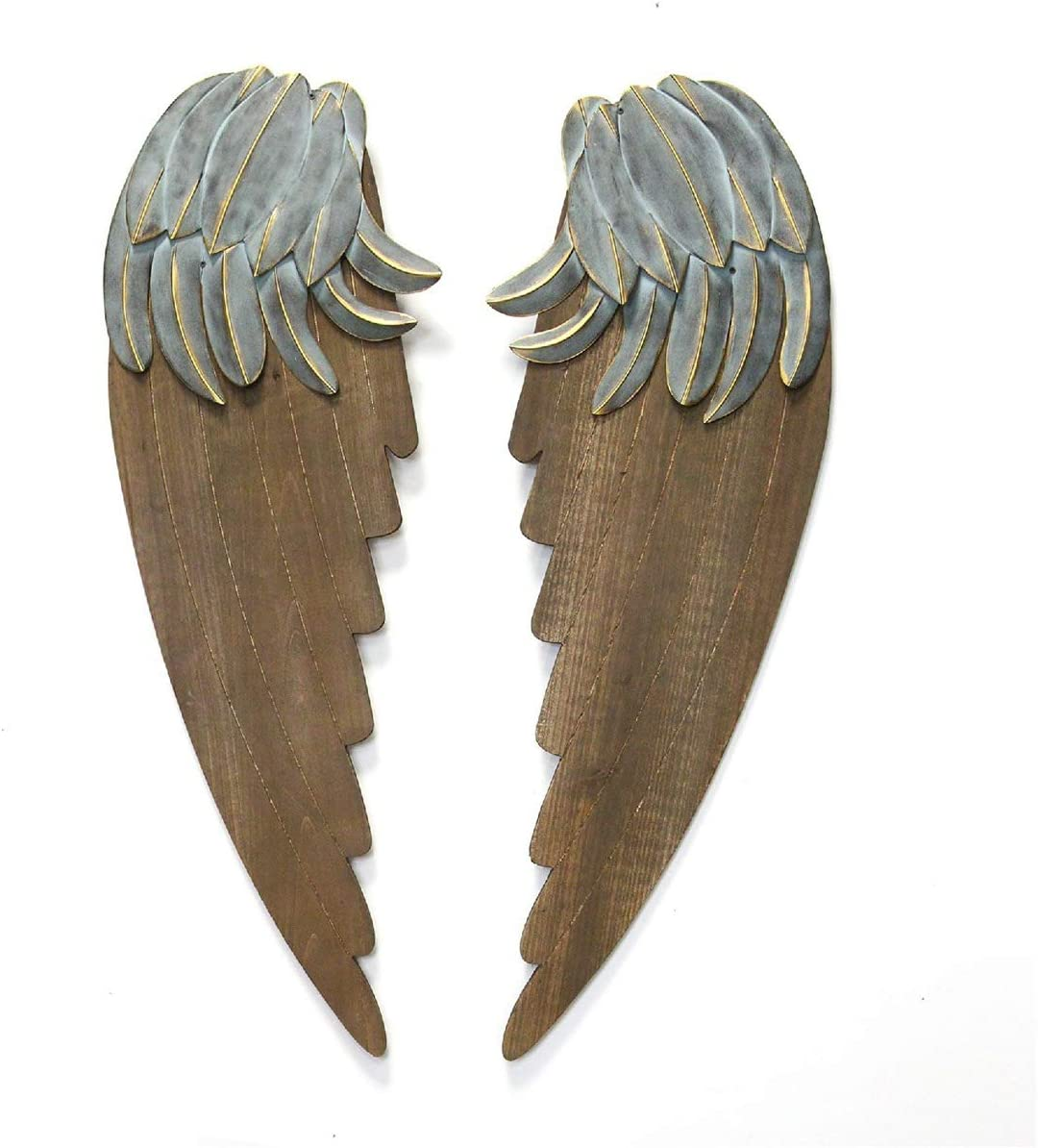 "Stratton Home Décor Stratton Home Decor Rustic Angel Wings, 10.50"" W X 1.25"" D X 30.25"" H, Dark Walnut, Blue, Gold"