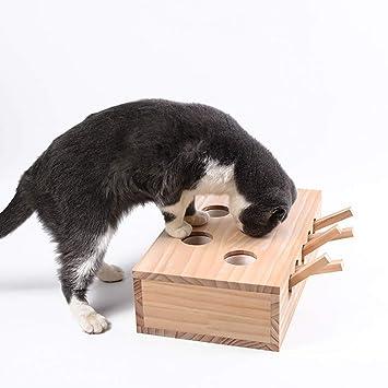 QNMM Pet Intelligence Toy 5 Hoyos Rompecabezas De Madera Juguete para Gato Hide & Seek Ball