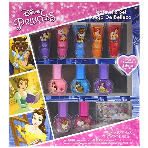 TownleyGirl Disney's Princess Beauty and the Beast Cosmetic Set with lip gloss, nail polish and nail stickers (Polish Spa Gloss)