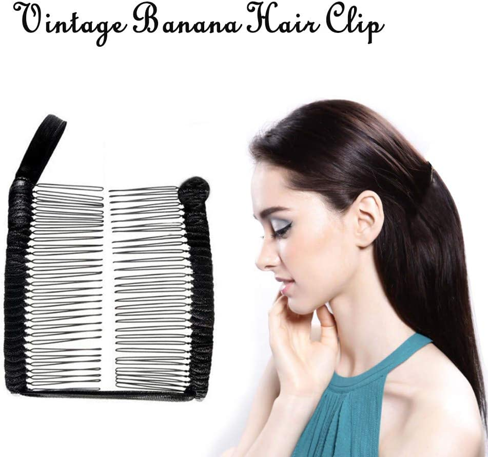Smilvy Vintage Hair Clip for Women, Stretch Banana Clip for Thick,  Naturally Curly Hair   Non Slip Hair Clip Clamps Stretchable Banana Comb  Double ...