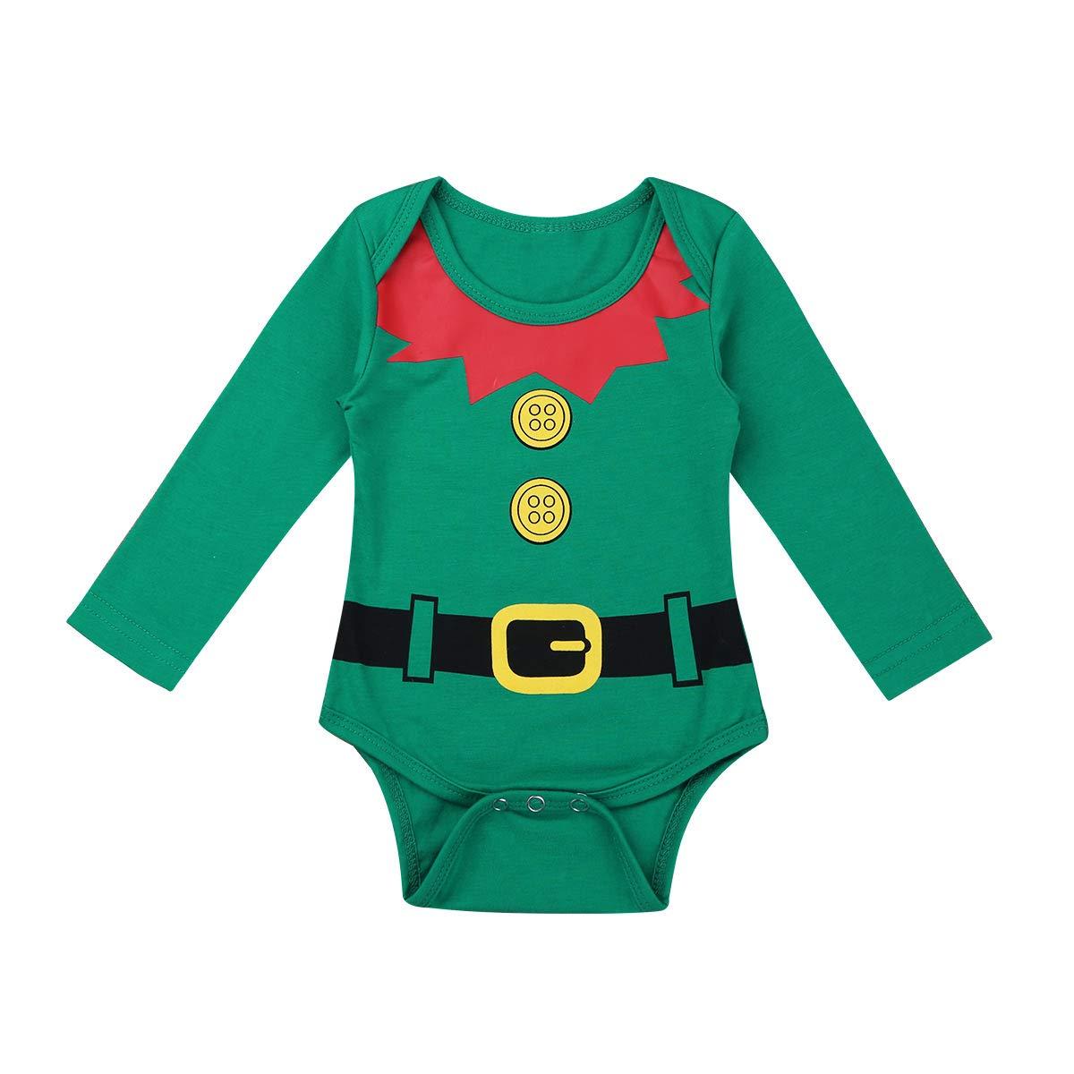 inhzoy Conjunto de Pijama Navidad para Bebé Niños Traje de Elfo ...
