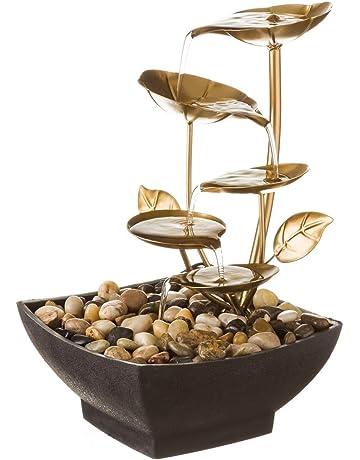 Fuente de Interior de Agua en Metal Dorada Oriental Sol Naciente para decoración - LOLAhome