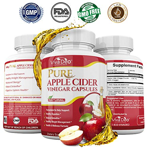 120 Apple Cider Vinegar Pills | Made with Organic ACV | Fast Acting, Maximum Absorption Detox Supplement Capsules | Supports Weight Loss, Detox, Blood Pressure, Cholesterol, Gorgeous Hair & Skin