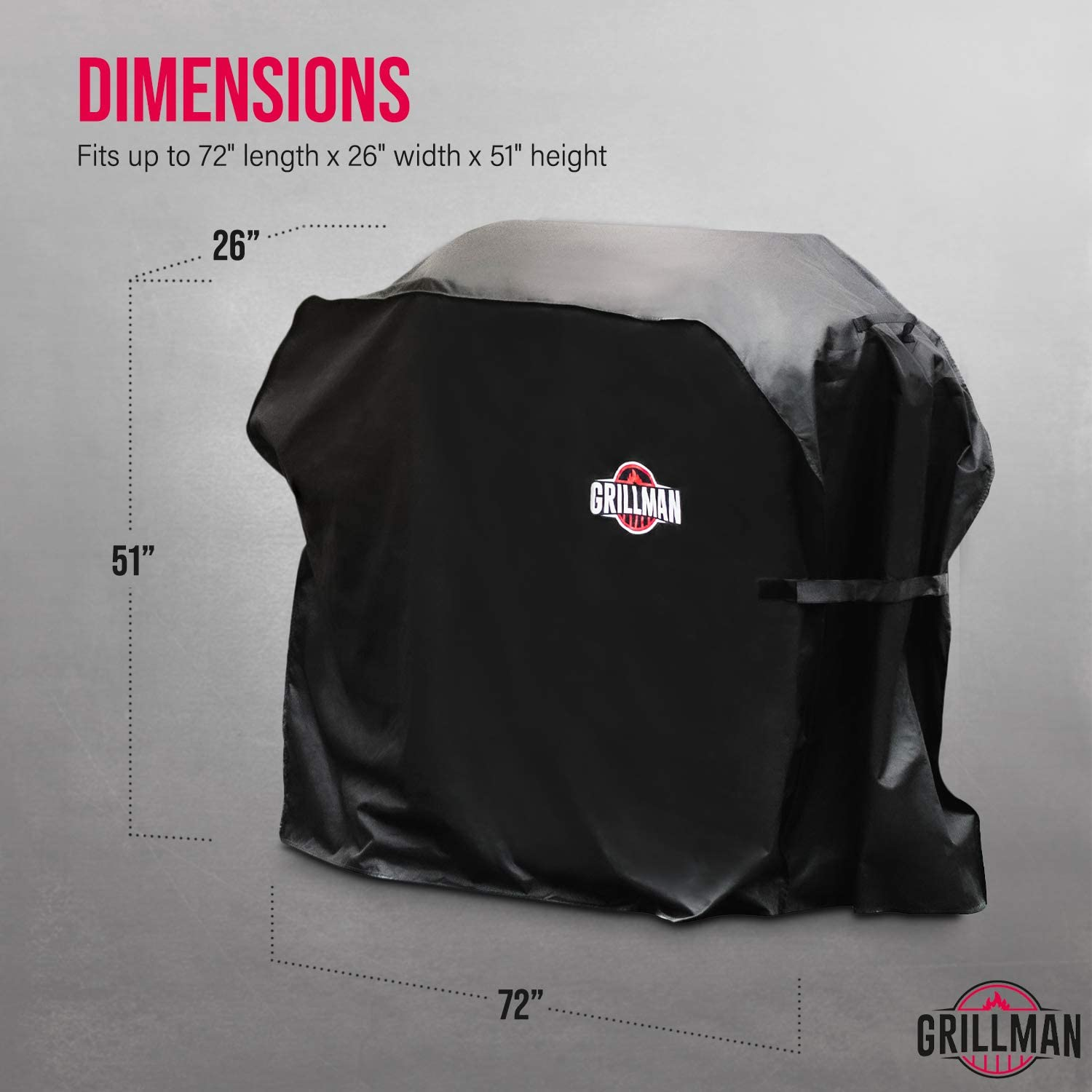 Grillman Premium Bbq Grill Cover Heavy Duty Gas Grill Cover For Weber Brinkmann Char Broil Etc Rip Proof Uv Water Resistant 72 Inch 183 Cm Black Amazon Co Uk Garden Outdoors
