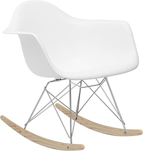Poly and Bark Rocker Modern Mid-Century Rocking Molded Lounge Chair, White