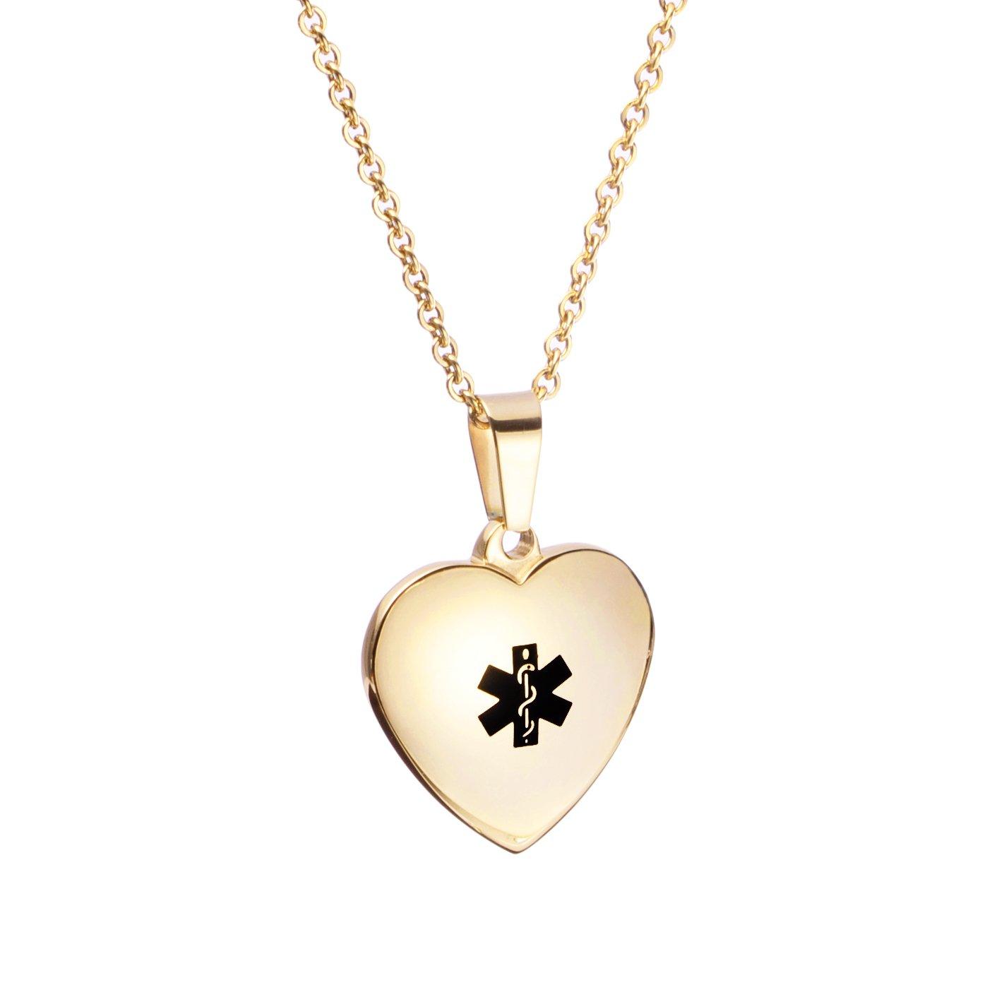 Free Engraving Heart Charm Medical ID Alert Necklaces for Women & Girl LinnaLove MP-0236-BK