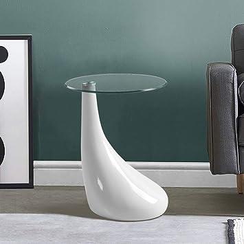 Tavolini In Vetro Da Salotto.Goldfan Tavolino Da Salotto Tavolino In Vetro Lucido Con Base Laccata Tavolino Da Te Design Scandinavo Rotondo Bianco 42x55cm