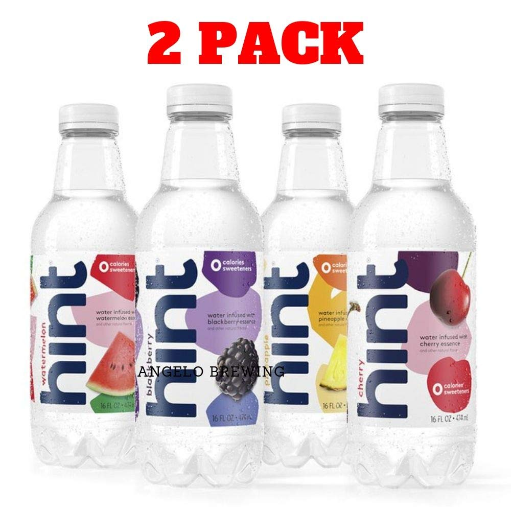 Hint Fruit Infused Water Variety Pack, (Pack of 12) 16 Ounce Bottles, 3 Bottles Each of: Cherry, Watermelon, Pineapple, and Blackberry, Unsweet Water with Zero Diet Sweeteners (2 pack of 12)