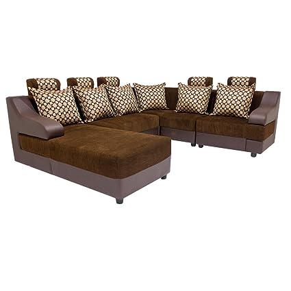 Woodpecker Lillium Six Seater L-Shaped Sofa (Brown Khadi Pyramid Coffee)