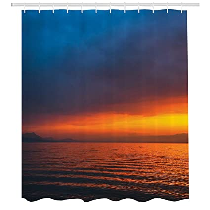 Seascape Shower CurtainSunset Over The Lake Dusk Cloudy Sky Calm Evening Water Reflection Waves