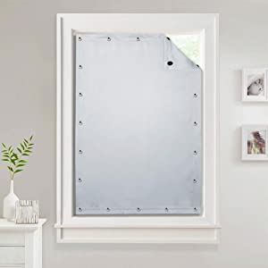 Travel Blinds Curtain for Roof Window - Adjustable Cordless Suckers Blackout Window Treatment Drapes Thermal Insulated Privacy Protect Panels for Baby Nursery, Greyish White, W51 x L78 inches, 1 Panel