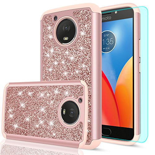 Moto E4 Plus Glitter Case (USA Version) (Not Fit Moto E4) with HD Screen Protector,LeYi Bling Girls Women Heavy Duty Protective Phone Case Cover for Motorola Moto E Plus (4th Generation) FZ Rose Gold