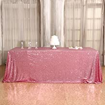 """3E Home 70x120"""" Square Sequin TableCloth for Party Cake Dessert Table Exhibition Events, Fuchsia Pink"""