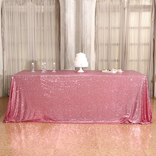 3E Home 60×126'' Rectangle Sequin TableCloth for Party Cake Dessert Table Exhibition Events, Fuchsia Pink