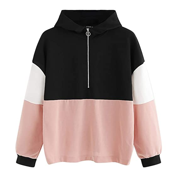 Women Sweatshirts Female Hoodie Zipper Hoodie Jumper Long Sleeve Color Block Sweatshirt Pullover Tops Hooded Sweatshirt at Amazon Womens Clothing store:
