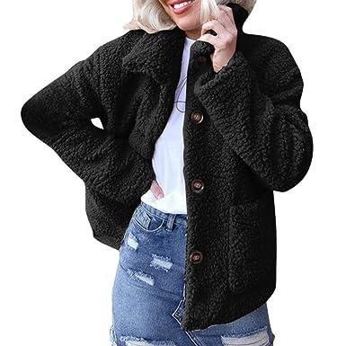 31e5aadfb7ea HARRYSTORE Faux Fur Coats Women Teddy Bear Jacket Fleece Lapel Coat  Oversized Fluffy Outwear Autumn Winter Casual Loose Pockets Button Down  Warm Up Ladies ...