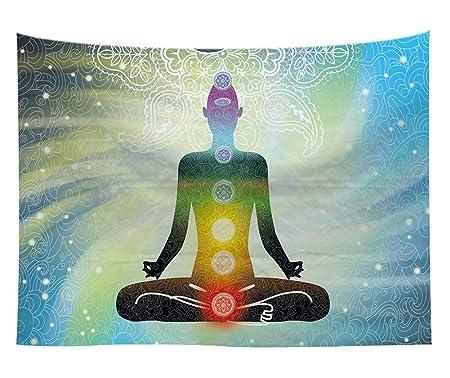 Yoga Meditación con pared Chakras Alfombra espiral flujo de ...