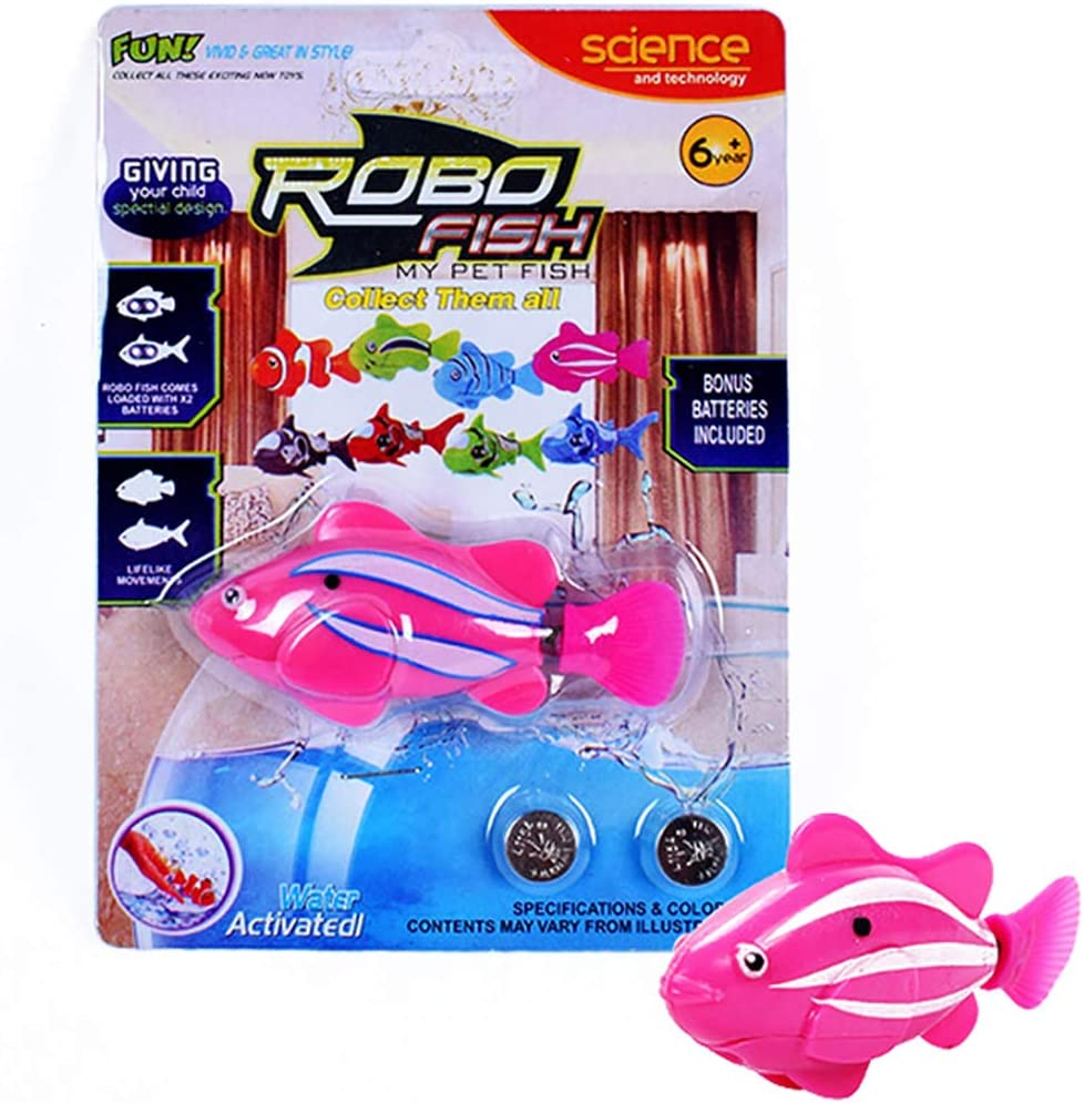 URBEAR Swimming Robot Fish Activated Battery Powered Robot Fish Toy Fish Robottic Pet Fish Aquarium Decor Bathtub Toy for Children Kids Toddle