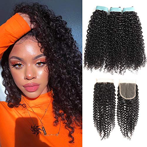 Lace Rosa 9A Malaysian Kinky Curly Human Hair 3 Bundles with Closure(14 16 18+12)100% Uprocessed Virgin Human Hair with Lace Closure Free Part Natural Black