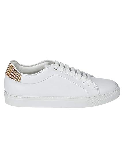 053f5d5b9603 Paul Smith Men's M1SBAS14ATRI01 White Leather Sneakers: Amazon.co.uk ...
