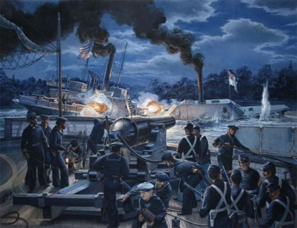 Gunfight on the Roanoke  byトムFreeman – CSS albemarle1864 – Civil Warアート