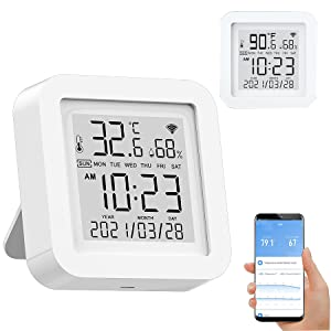 Smart WiFi Temperature Humidity Monitor: Wireless Temperature Humidity Sensor with TUYA APP Control, WiFi Thermometer Hygrometer for Home Pet Garage Cigar Humidor, Works with Alexa