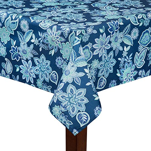 """Waverly Charismatic Blue Floral Fabric Tablecloth (70"""" Round)"""
