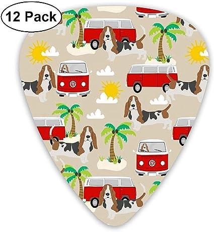Basset Hound Dog Beach Bus Hippie Bus Palm Trees Púas de guitarra ...