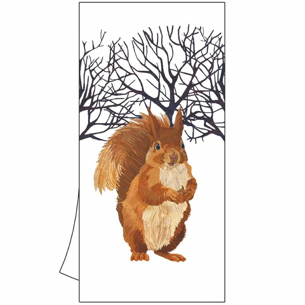 Paperproducts Design Kitchen Towel Featuring Winter Squirrel Design, Multicolor