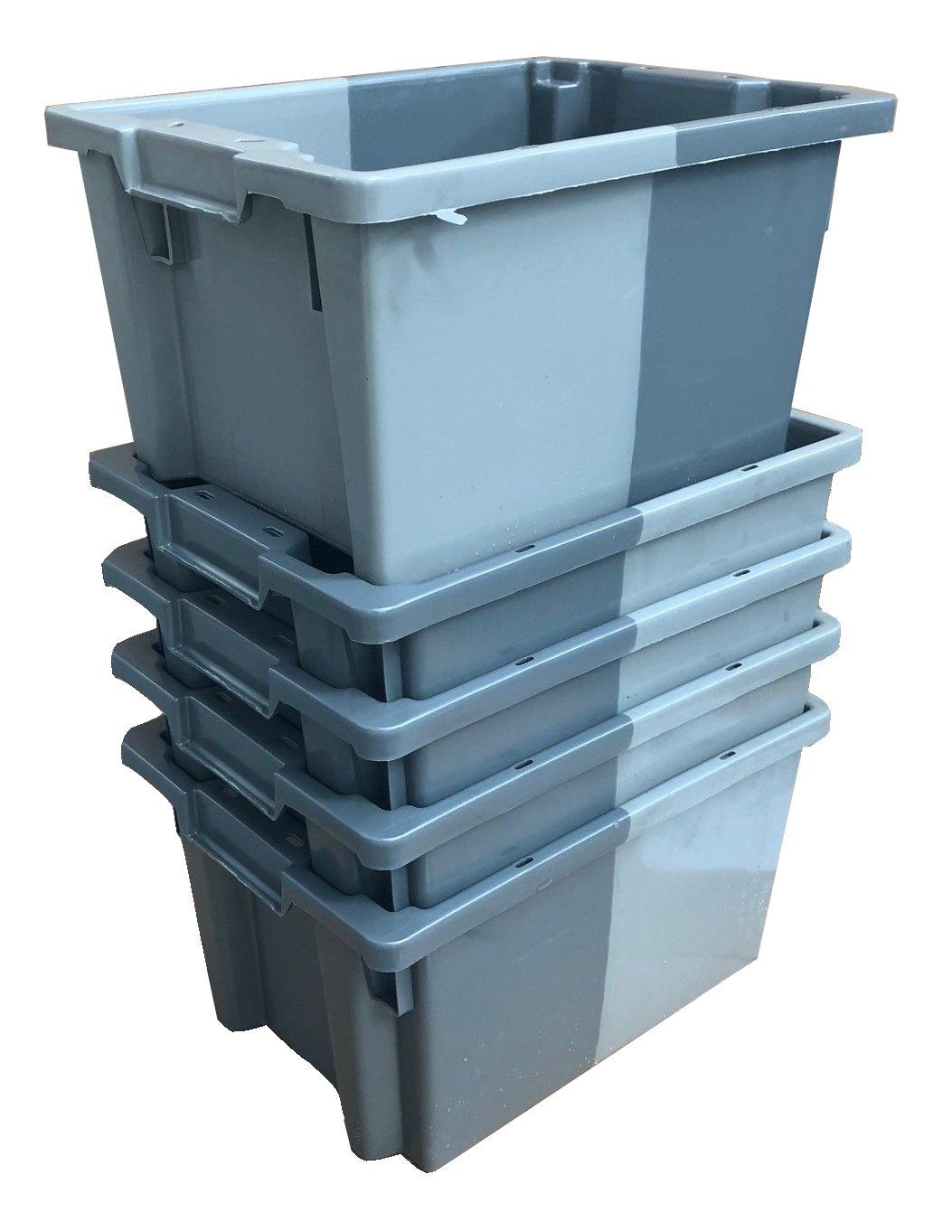 Pack de 10 x 16 litros gris pequeño apilado/nido 180º caja de almacenamiento de plástico contenedor caja de almacenamiento - 400 x 300 mm ...