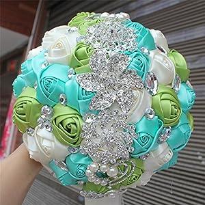 FYSTORE Advanced Customization Romantic Bride Wedding Holding Bouquet Roses with Bead & Diamond Accessory,18CM 108