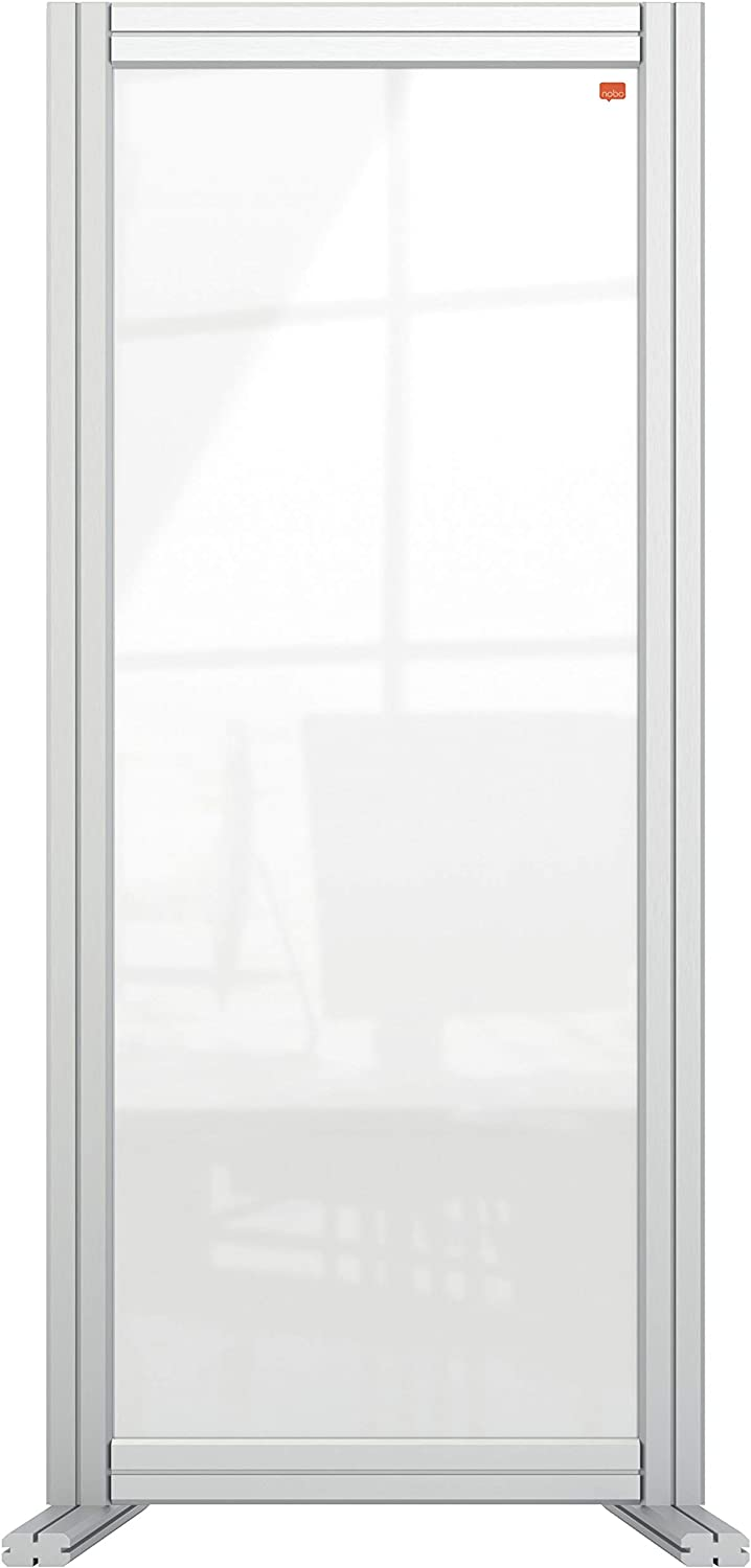 Free Standing Protective Social Distancing Barrier Nobo Clear Acrylic Desk Divider 1.4 m High Guard and Screen System Premium Plus 400 x 1000 mm 1915494