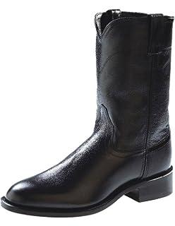 38405091c Old West Men's Corona Calf Leather Roper Toe Western Cowboy Boots - Black