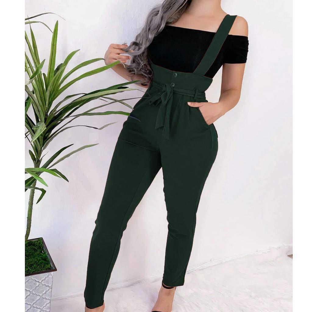 Pantalones Mujer Invierno,Correa De Espagueti para Mujer Piernas Anchas Medias Mono Pantalones Clubwear Mameluco