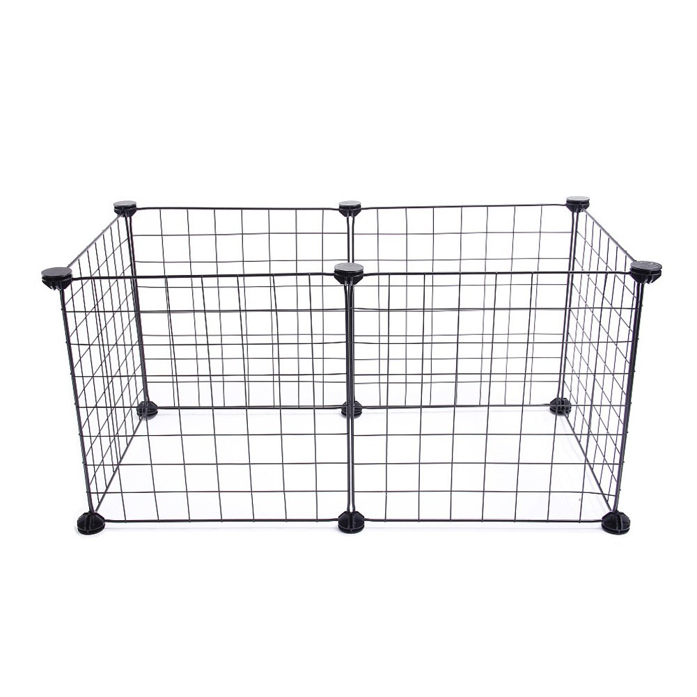 Black 35x35cm black 35x35cm Small Animal Fence Cage Dog Cat Foldable Playpen Portable Foldable Pet Exercise Fence Panels Puppy,Hamster, Rabbit, Guinea Pigs, Bunny Cage(35x35cm,Black)