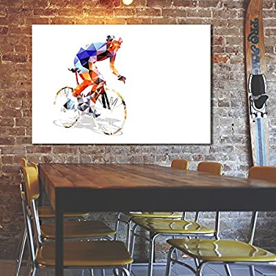 Canvas Wall Art Sports Theme - Color Collage a Rider on The Bike - Giclee Print Gallery Wrap Modern Home Art Ready to Hang - 12x18 inches